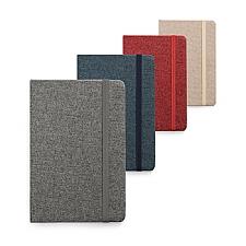 Caderno capa dura tecido em Poliéster.