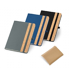 Caderno capa dura. Cortiça e PU contendo 96 folhas