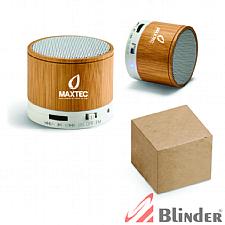 Caixa de som com microfone. Bambu.