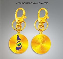 Chaveiro Metal Estampado Dourado