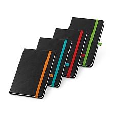 Caderno capa dura PU térmico, contendo 80 fls