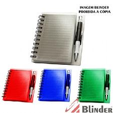 Bloco de anotações em PVC com espiral caneta