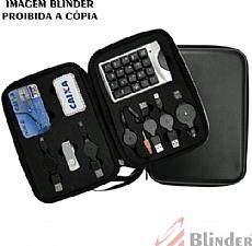 Kit hub com 3 extensões USB, mini mouse e teclado.